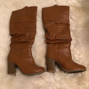 Shoes - Tan ruched knee high boots